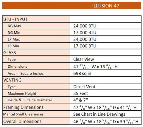 Napoleon Ambiance Illusion 47 Gas Fireplace Specs | Barbecues Galore