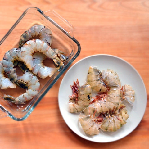 Peel and devein shrimp,