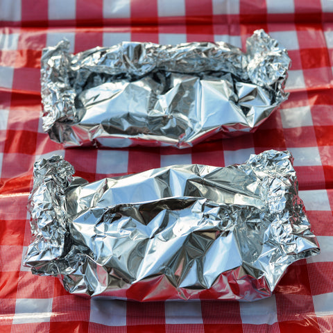 Fold the foil up so you have sealed packets