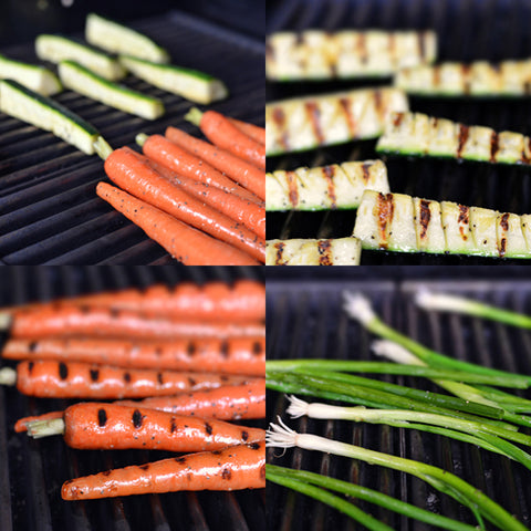 Place the carrots and zucchini on the grill and cook for about 10 minutes
