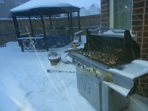 Winter grilling in snow storm