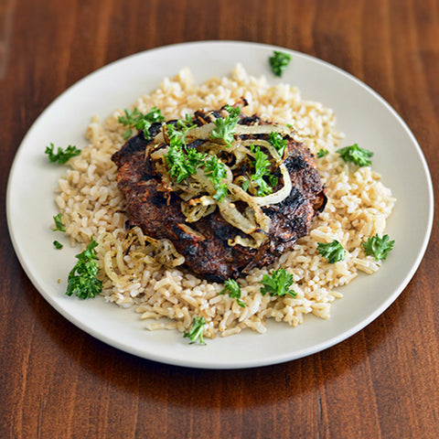 Put burger on top of rice or quinoa with onions and chopped parsley