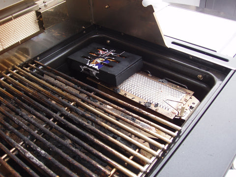 Turn on Barbecue and Place Smoke Box Under Cooking Grills