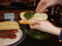 Spoon lots of chimichurri sauce onto your buns.