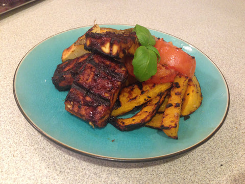 The final product - Grilled Tofu with Potatoes and Butternut Squash