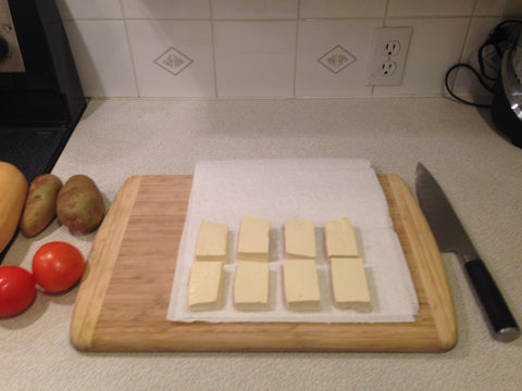 "Slice the tofu into 1/2"" thick slices"