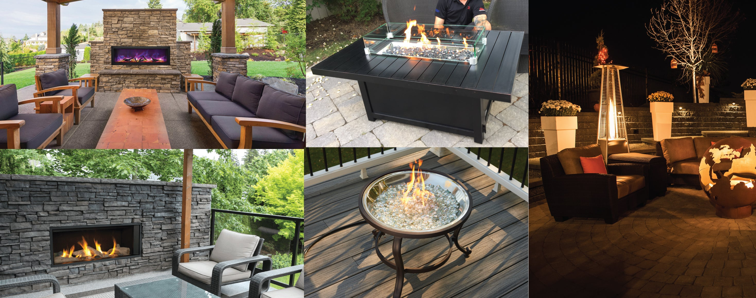 Different patio setups in various backyards