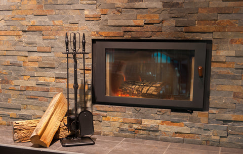 Hearth Pro Black Five Piece Toolset With Woodburning Fireplace