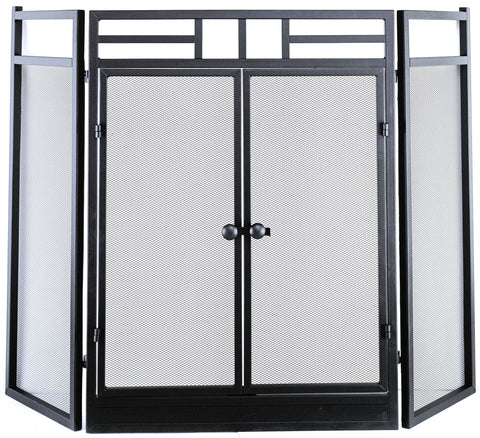Hearth Pro Wrought Iron Fireplace Screen with Door