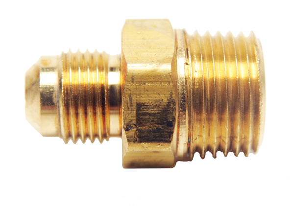 "Brass Fitting - 486D 3/8"" Male Flare to 1/2"" Male Pipe Thread"