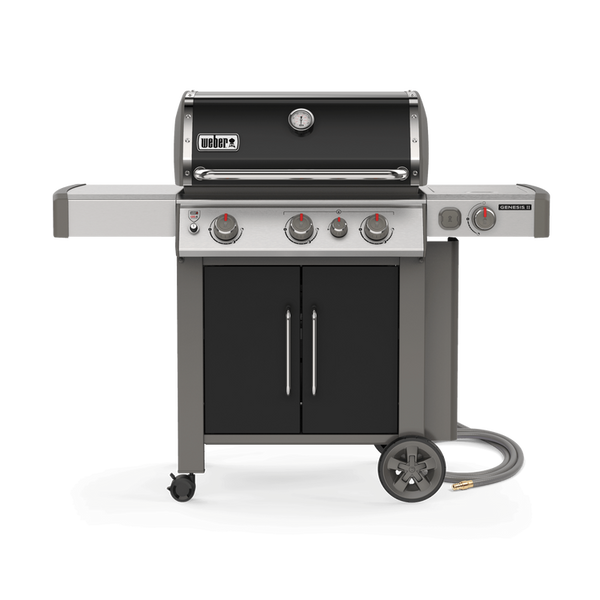 Weber Genesis II E-335 - Natural Gas l Extra features like a side burner and searing station burner, with a luxurious black lid. This bbq is sure to be a fan favourite this summer | See this one for yourself at Barbecues Galore in Calgary, AB and Burlington, Etobicoke and Oakville, ON