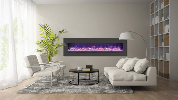 Sierra Flame by Amantii features fireplaces at new lengths! The linear electric units boats colour changing lighting and high BTUs. Barbecues Galore Toronto, Burlington, Oakville and Calgary.