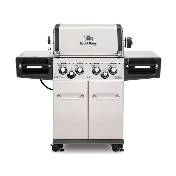 Broil King Regal S490 PRO Stainless Steel Gas Barbecue WIth Side Burner & Rotisserie | Available at Barbecues Galore: Burlington, Oakville, Etobicoke & Calgary