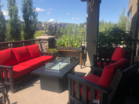 The Outdoor Greatroom Archer Fire Table is a one stop shop to enjoying summer and fall evenings on the patio | Available at Barbecues Galore: Burlington, Oakville, Etobicoke & Calgary