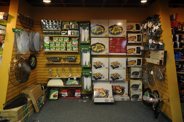 Big Green Egg Eggcessory Wall at Barbecues Galore Calgary North