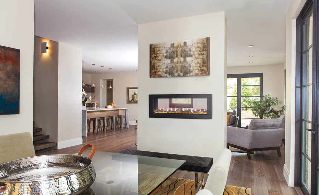 calgary through fireplaces sided bell tag home hearth horizon large in electric double tunnel fires ff fireplace see