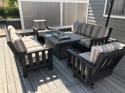 Outdoor Great Room Brooks Fire Table | The perfect solution for summer and fall gatherings.  Check out one today at any of our five locations: Burlington, Oakville, Etobicoke & Calgary