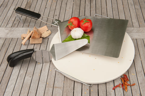Brander Stainless Steel Pizza Lifter Lifestyle with Pizza Accessories