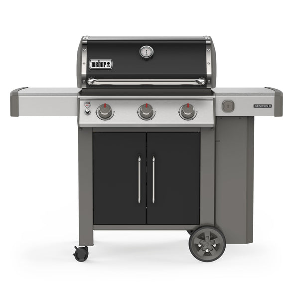 Weber Genesis II E-315 – Propane Grill | A lustrous black lid and doors, three main burners with a ton of heat, cast iron cooking grills and a 10-year warranty. This bbq is sure to become a staple at your house this summer | Barbecues Galore: Burlington, Oakville, Etobicoke and Calgary
