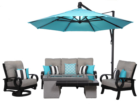 Outdoor Great Room Uptown Fire Table with Mallin Eclipse Sun Linen Slate and Aqua Treasure Garden AKZ Cantilever Umbrella