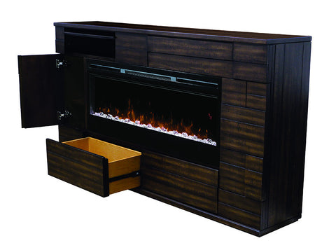 Dimplex Markus Electric Fireplace Mantel Acrylic Ice Cabinets open