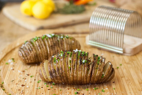 Charcoal Companion Hasselback Potato Slicing Rack in Action