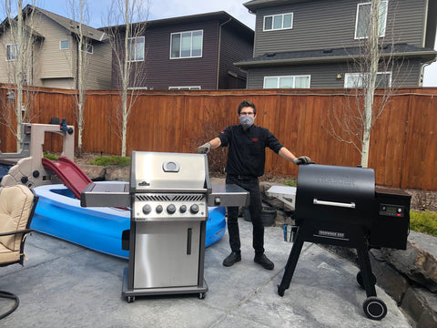 Barbecue Butler dropping off a new Traeger Ironwood 650 & Napoleon Rogue 425RSIB for a happy customer | Barbecues Galore: 3 locations in the GTA & 2 in Calgary, Alberta