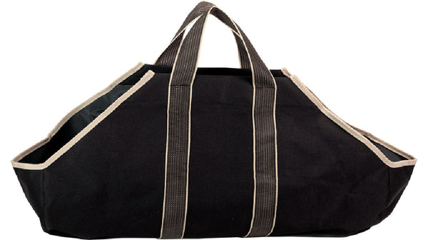 DAGAN BLACK CANVAS LOG TOTE WITH TAN HANDLES - LC4000