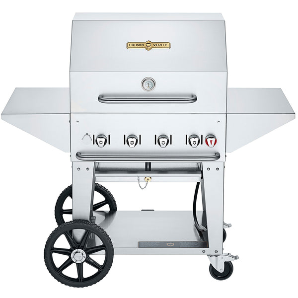 "Crown Verity 30"" Charbroiler Professional Series.  With the added roll dome, bun rack, side shelves and cover, you know you're getting just about everything your heart can desire out of a luxury grill 
