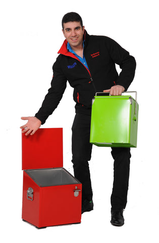 Model with Brander Portable Coolers