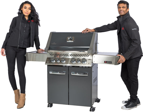 Napoleon Prestige P500RSIB – Ambiance Edition – Propane | This exclusive model features an upgraded stainless steel grill for the Sizzle Zone and sexy grey finish | Barbecues Galore in Calgary, Alberta and three locations in Ontario: Burlington, Oakville and Etobicoke