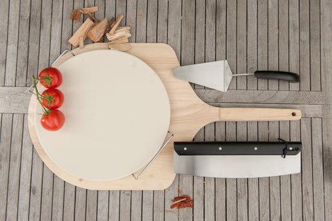 Brander Traditional Wooden Pizza Peel Lifestyle with Pizza Accessories