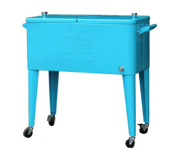 The teal Brander Party Starter Cooler.  A bright and beautiful colour in a vintage style cooler.  The perfect addition to any outdoor patio for summer time enjoyment.  Available at Barbecues Galore: Burlington, Etobicoke, Oakville & Calgary.