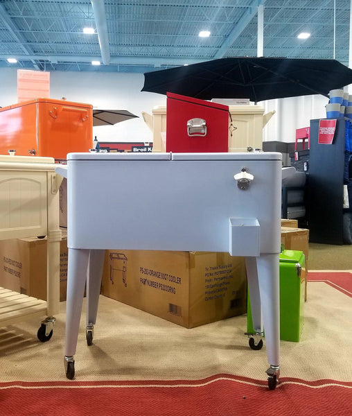 The Brander Party Starter Cooler sitting on Barbecues Galore's stunning showroom.  Available at our 3 locations across the GTA: Burlington, Oakville & Etobicoke, ON. As well as our two Alberta locations in Calgary