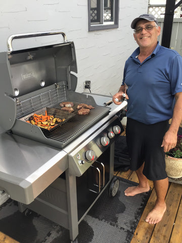 Customer showing off their new Weber Genesis II CSE-335 with some delicious steak & vegetables | Burlington, Oakville, Etobicoke & Calgary