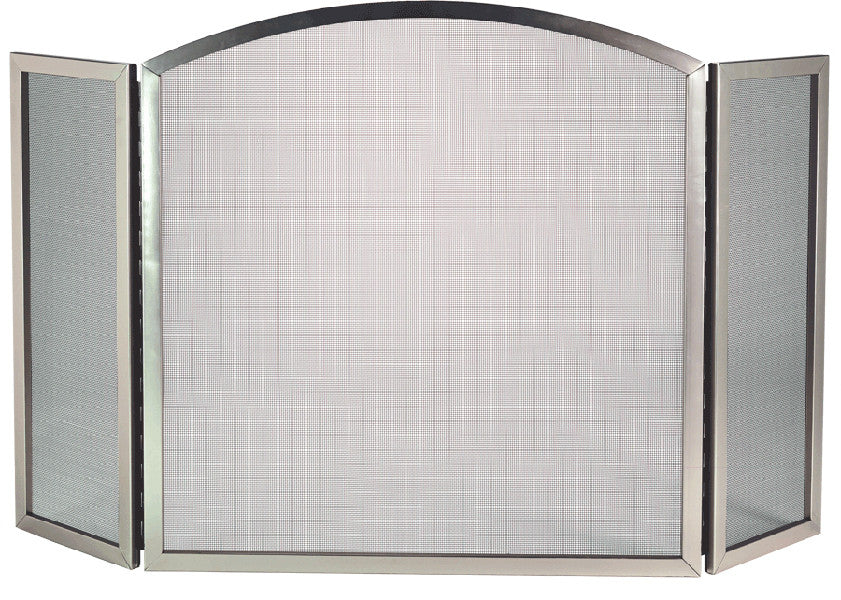 Fireplace Design arched fireplace screen : Dagan Satin Nickel 3 Fold Fireplace Screen – Barbecues Galore