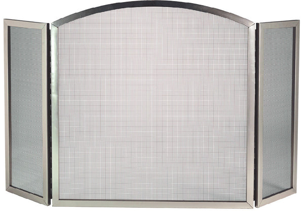 DAGAN SATIN NICKEL 3 FOLD ARCHED FIREPLACE SCREEN