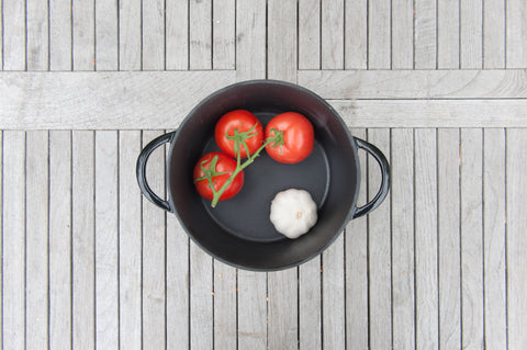 Brander Cast Iron Pot Filled with Veggies