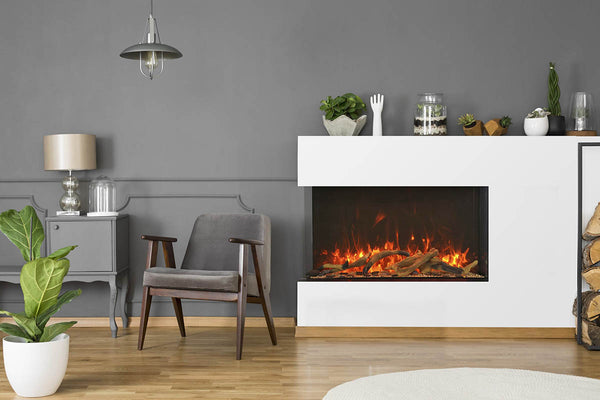 "Amantii Tru-View XT 40"" 3-Sided Linear Electric Fireplace 