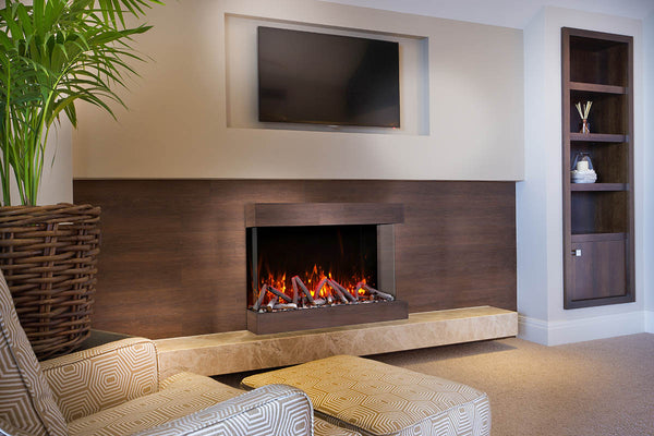 "Amantii Tru-View XT 60"" 3-Sided Linear Electric Fireplace 