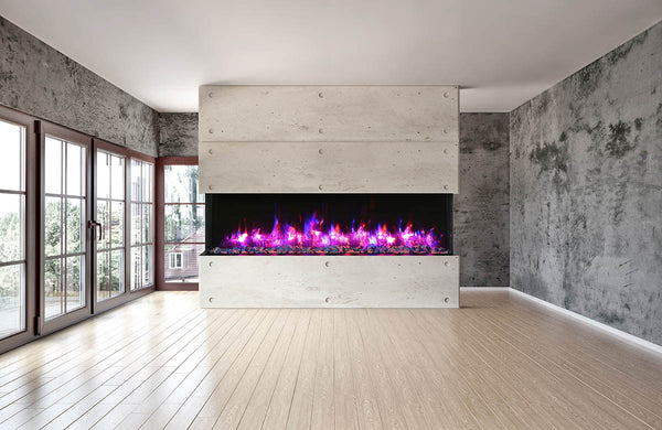 "Amantii Tru-View XT 88"" 3-Sided Linear Electric Fireplace 