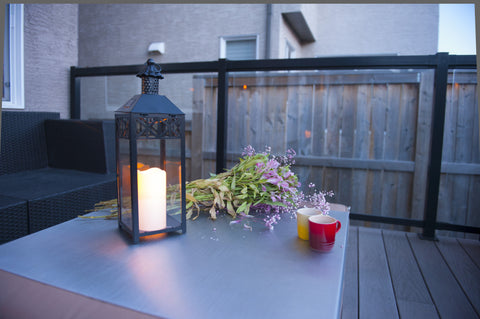 Brander Outdoor Lantern with Solar Powered Candle Light