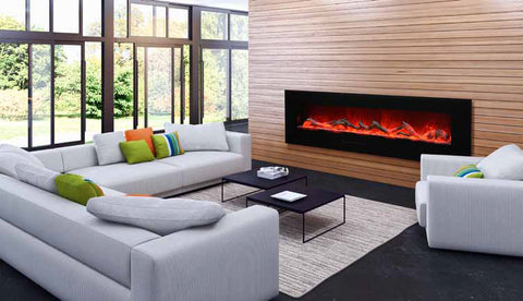 "Amantii 72"" Flush Mount Electric Fireplace l Barbecues Galore"