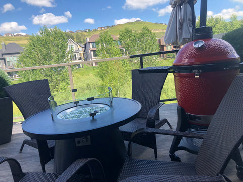The Ourdoor Greatroom Crosby Fire Table.  Your perfect solution to outdoor summer events and cool fall evenings.  Available at Barbecues Galore: Burlington, Oakville, Etobicoke & Calgary