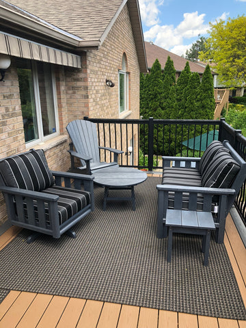 CRP Stratford Deep Seating Patio Furniture with Slate Grey frame and Payton Granite Cushions | The perfect solution to some comfortable and elegant patio lounging this summer.  Barbecues Galore: Burlington, Oakville, Etobicoke & Calgary