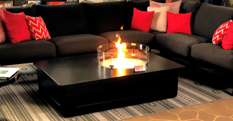 Gensun Onyx Rectangular Fire Table with Offset Round Cover