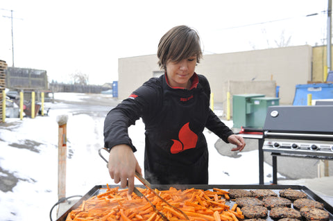 Solveig using the Chuckwagon Griddle for sweet potato fries