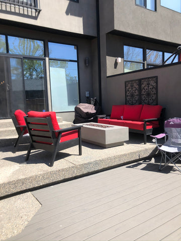 CRP Tofino Deep Seating Black Sectional - Jockey Red Cushions