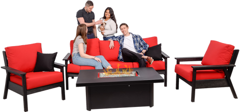 CRP Tofino Deep Seating Black Sofa Set - Jockey Red Cushions