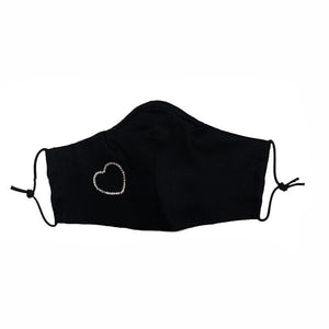 Women's Rhinestone Heart Mask - Black